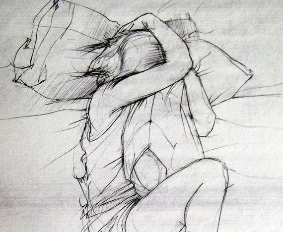 8 x 10 - The Science de Missing You - fine art print - délicat gris dessin d'une fille et son oreiller