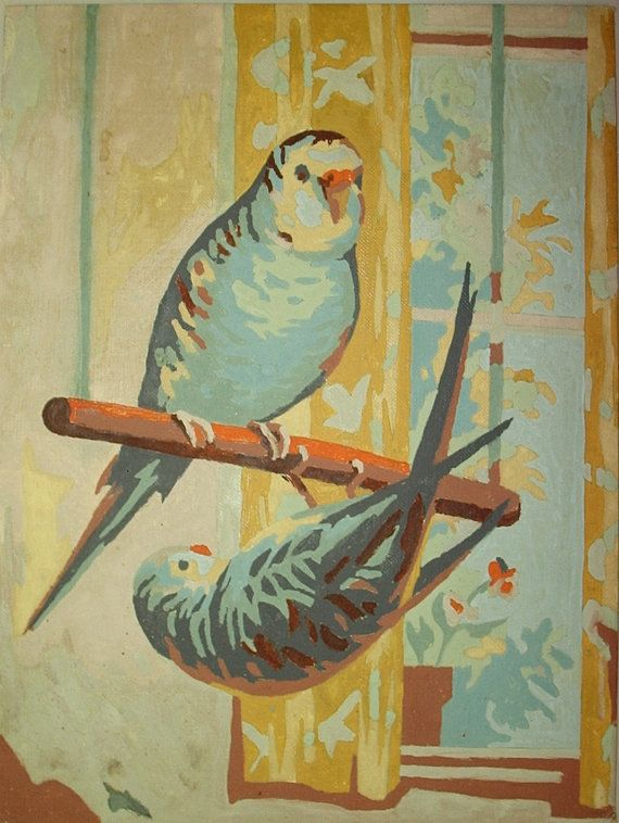 Vintage Paint by Number paintingsbirds by CollectUrGrandmother