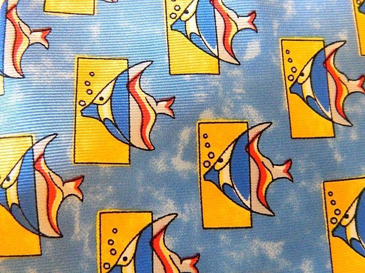 Men's Designer Silk Neck Tie Ocean Fish Novelty Print King Power Milano Blue  #KingPowerMilano #NeckTie
