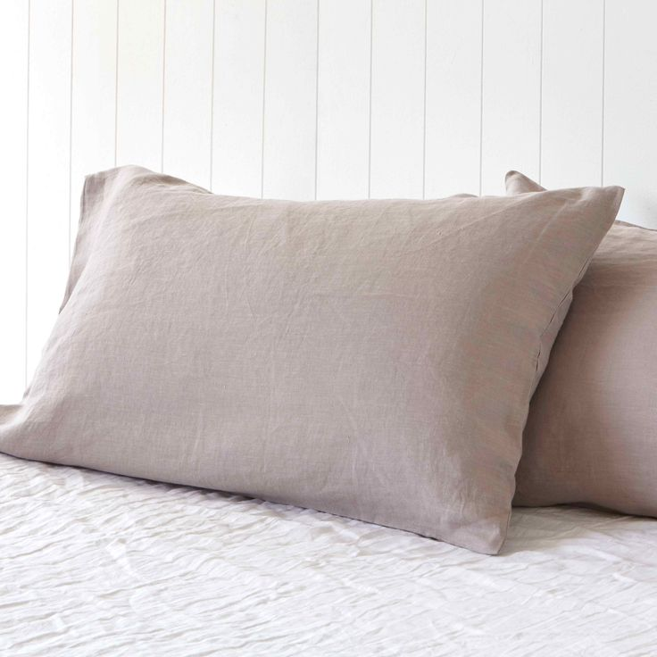 Misty Harbour Grey Pure Linen Pillowcases by Montauk Style