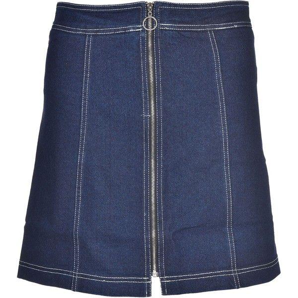 Zipped Skirt ($47) ❤ liked on Polyvore featuring skirts, denim scuro, womenclothingskirts, zip skirt, knee length denim skirt, blue denim skirt, blue skirt and straight denim skirt