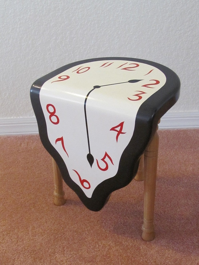 Melting Clock Sitting Stool  a tribute to by NaturalDesignsArt, $350.00