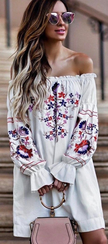 b095e6e067 Boho Chic Fashion + The Latest Women s Fashion Outfit Ideas and  Inspiration. ⭐ An Eva Floral Embroidery Off Shoulder Tunic Dress i…
