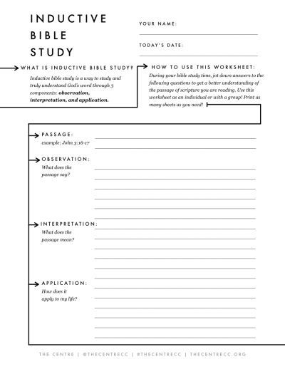 Bible study worksheets free