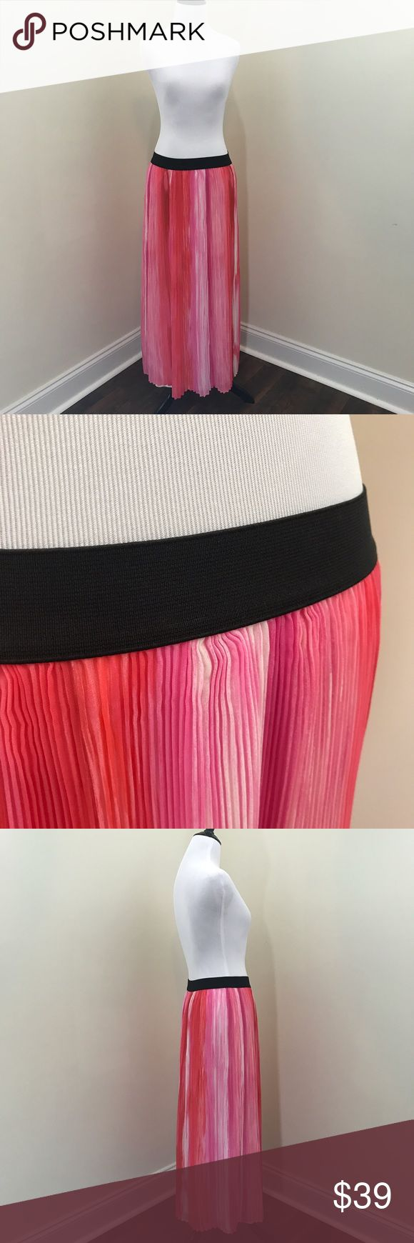 """Pleated Chiffon Maxi Skirt Gorgeous brand new pleated chiffon flowy maxi skirt. In a mix of pinks and whites with a black elastic waistband. Two sizes available!!   Length 35"""" (M L)  Waist Laying Flat 13"""" (M) 15.5"""" (L)  Item Number: L1N3BA L1N4BA NY Collection Skirts Maxi"""