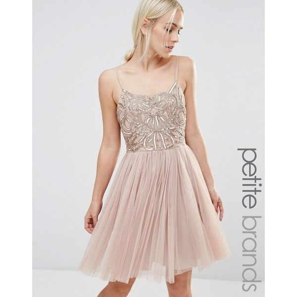 Maya Petite Cami Strap Mini Dress With Tulle Skirt And Embellishment ($105) ❤ liked on Polyvore featuring dresses, tan, tulle dress, sequin cami, short tulle dress, beaded cocktail dress and sequin mini dress