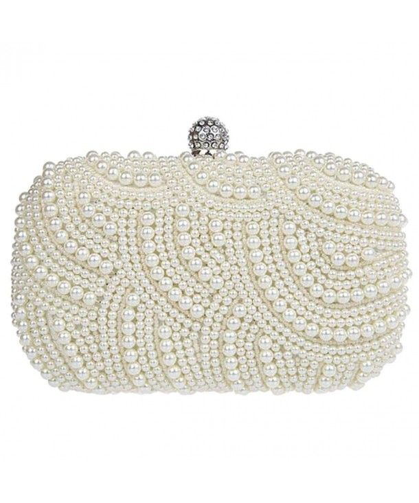 Women Full Pearl Handmade Evening Clutch Bag - Ivory - CG11OR5JWJB ...