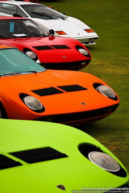 Lamborghini Miura(s) and one Countach.