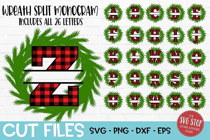 Christmas Buffalo Plaid Monogram SVG file Christmas Monogram SVG DXF Circle Monogram Cut file Christmas Svg Cricut Silhouette Iron on