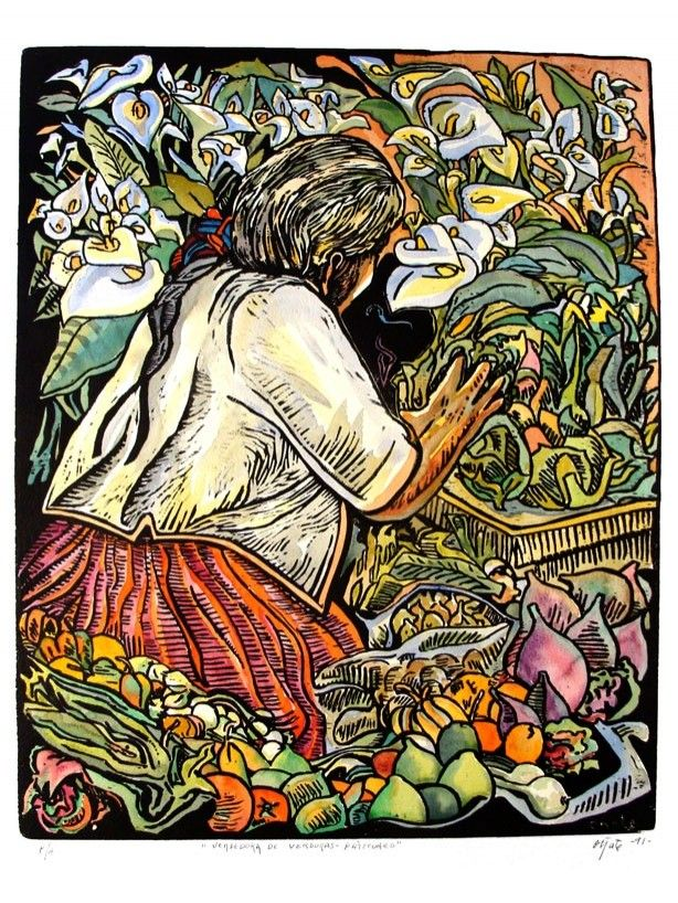 FRANCISCO OÑATE - Color woodcut