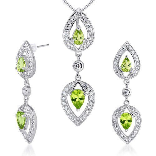 Must Have Fabulous 3.75 carats Pear Shape Peridot Pendant Earrings Set in Sterling Silver Rhodium Finish . $77.99. Save 50%!