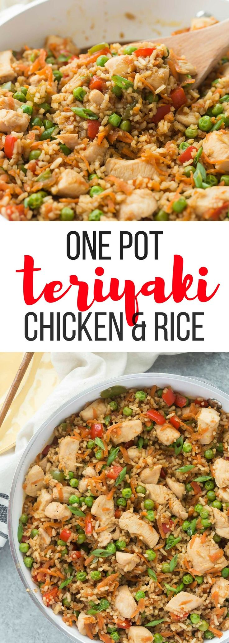 This One Pot Teriyaki Chicken, Rice and Vegetables is an easy, family friendly meal that's made in just 30 minutes or less! It healthy and hearty and perfect for weeknights. 30 minute meal easy dinner recipe chicken recipe healthy recipe healthy
