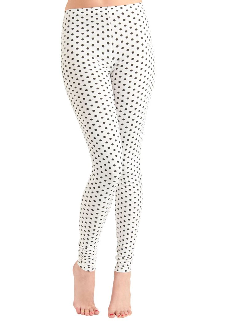 $27.99 Pattern of Perfection Leggings - Cream, Black, Polka Dots, Vintage Inspired,