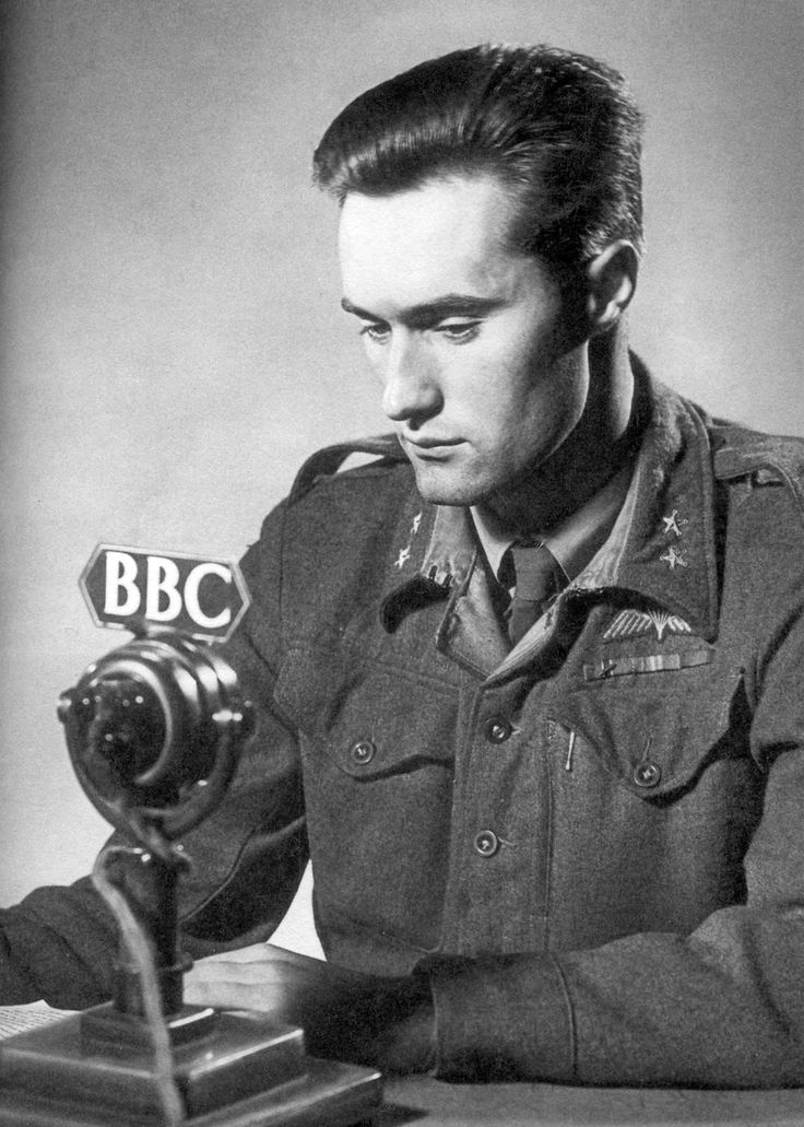 Joachim Rønneberg of NOR.I.C.1 (Norwegian Independent Company 1) being interviewed by the BBC after the Norwegian raid on the Vemork heavy-water plant at Ryukan, Norway, which he had led the six-man Operation Gunnerside team during the heavy water...