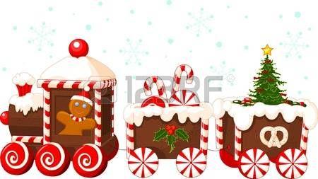 Tren de la Navidad hecha de pan de jengibre crema y dulces Foto de archivo