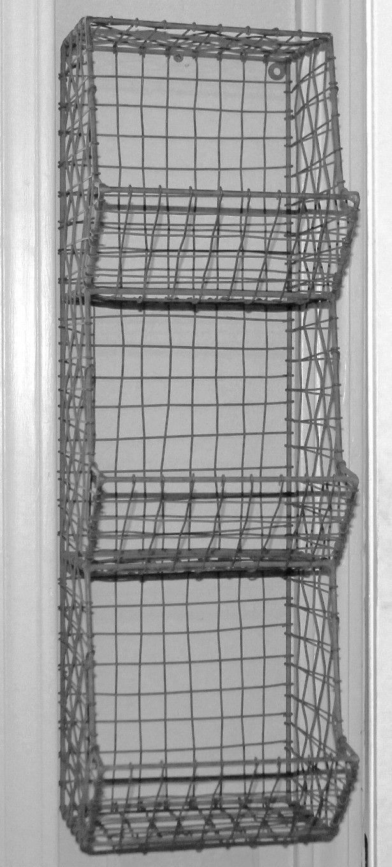 Rustic Industrial Wall Mount General Store Multi Basket Rack. Porch  StorageBin ...