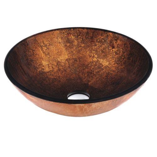 VIGO Atlantis Glass Vessel Sink Copper Vanity Bowl Bath Contemporary  Remodel New