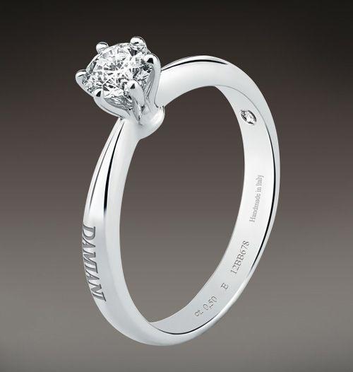 Помолвочное кольцо Damiani из платины с бриллиантом