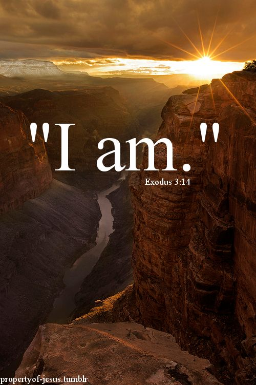 "Exodus 3:14 God said to Moses, ""I AM who I AM."""