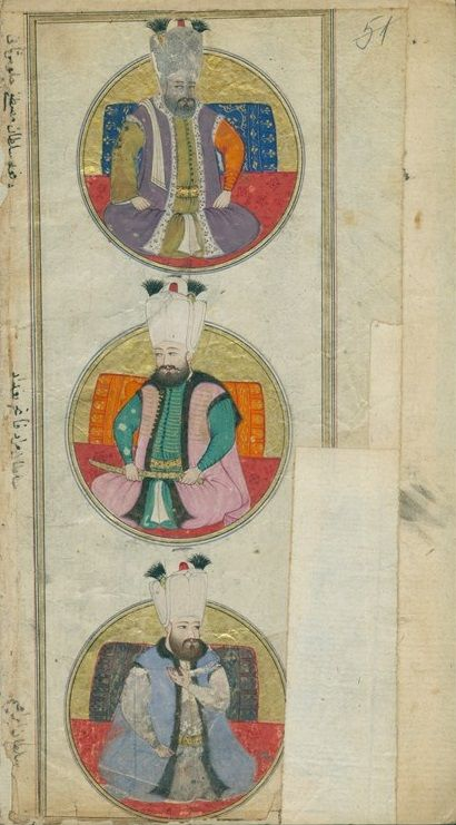 "Miniatures of Sultan Mustafa I, Murad IV and Ibrahim I. Shahnameh ""Shemailname-al-Osman"" (a description of Ottoman sultans) by Seyyid Lokman ibn Huseyin ibn al-Asuri al Urmevi. The manuscript contains miniatures of the Ottoman sultans, probably the work of Nakkash Osman. Continued with later miniatures of the sultans (until 1789) and information on their birth date, period of management and death. Original."