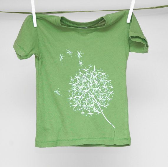 Green Dandelion Shirt Dandelions Cute baby clothes