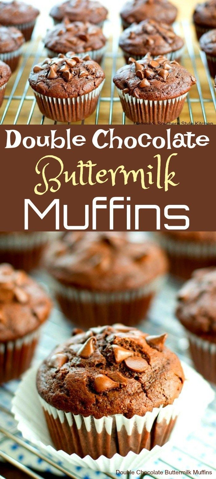 Double Chocolate Buttermilk Muffins Melissassouthernstylekitchen Com Buttermilk Muffins Buttermilk Recipes Kid Desserts