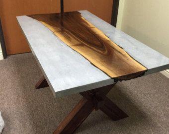 Mesas de concreto y madera por TaoConcrete en Etsy