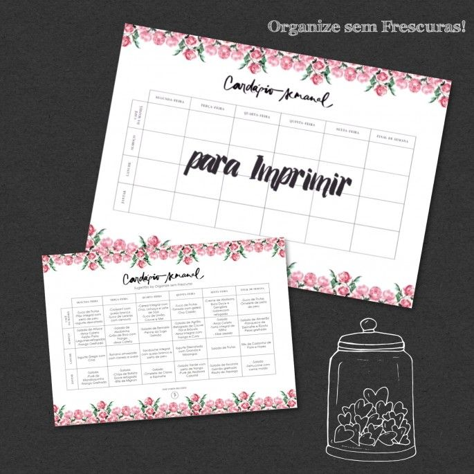 Organize sem Frescuras | Rafaela Oliveira » Arquivos » Cardápio semanal para imprimir