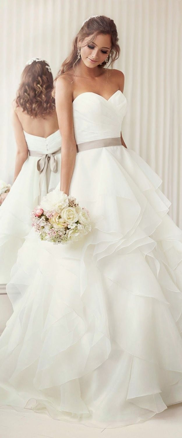 Find More Wedding Dresses Information about High Quality Summer Spring A Line Pleat White Wedding Dresses 2014 Brown Sash vestido de noiva Long Custom Made Wedding Dress,High Quality Wedding Dresses from Glamorous wedding  gown on Aliexpress.com
