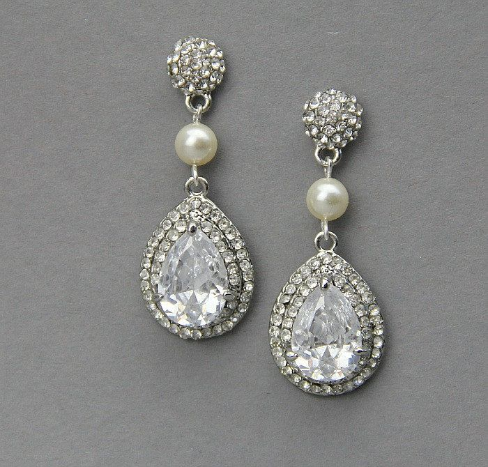Bridal pear drop earrings, Wedding crystal  pearl earrings ,wedding jewelry , vintage wedding jewelry- Style 489. $49.00, via Etsy.