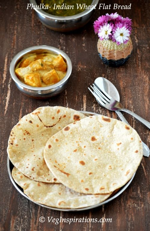 Phulka ~ How to make soft phulkas ~ Easy two ingredient Indian wheat flat bread ~ With stepwise pics and a video clip