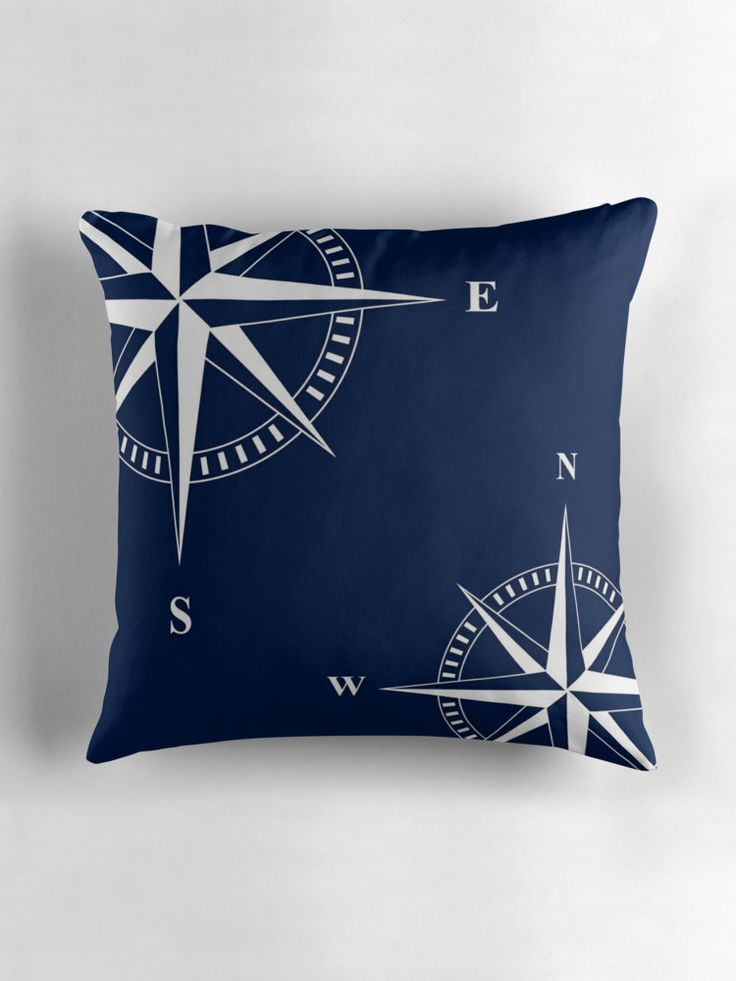 Navy blue nautical pillow with white nautical star / compass print. Fresh decor pillow for nautical living room, bedroom, hallway ... For all sailors and everyone who loves nautical style. #nautical #pillows #cushions #newengland #hamptons #nantucket