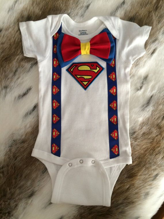 Superman baby boy onesie bow tie suspenders by Deepsouthcrafting