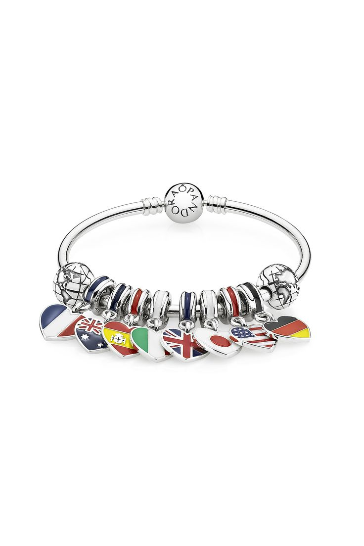 Seize the moment and free your mind, in lands filled with adventure and excitement. The vibrant colors of the hand-applied enamel make these heart-shaped flag dangles in sterling silver really stand out. #PANDORA #PANDORAbracelet #PANDORAcharm
