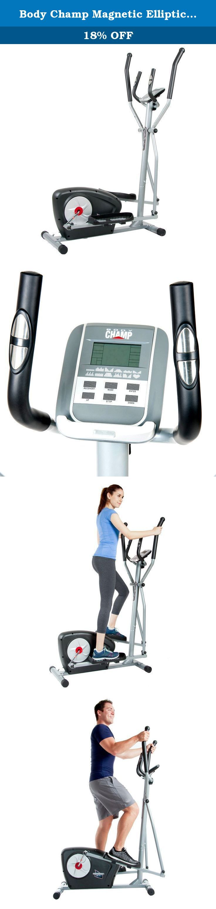 Body Champ Magnetic Elliptical Trainer, black/Silver. Take your and fitness and wellness to the next level with this patented Body Champ magnetic Elliptical Trainer. With unparalleled features and capabilities for its price and value, you can experience fully customizable workouts every time in the convenience and comfort of home. This Body Champ magnetic Elliptical Trainer utilizes motor-driven tension control and features a resistance system built with quality components that offer...