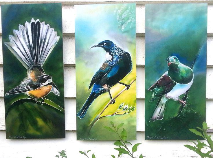 OUTDOOR ART, Trio of 3 Birds, New Zealand Art, Garden Art, Tui, Fantail, Woodpigeon (Kereru)Bird Art, Panel from my original silk painting, by KaySatherleyArt on Etsy