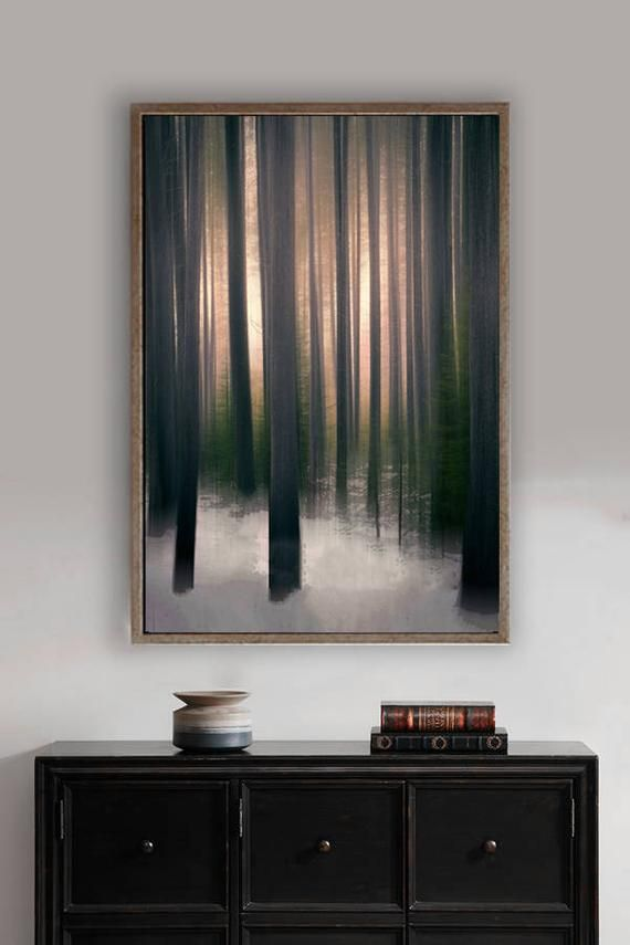 """Summary Tree Artwork – brown tree wall artwork 8×10 picture forest wall artwork copper 11×14 snowy forest 20×30 massive summary artwork 16×20 – """"Winter Woods"""""""