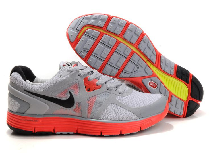 Men's Nike Lunarglide+ 3 Platinum Orange Grey Sneakers : I87u610