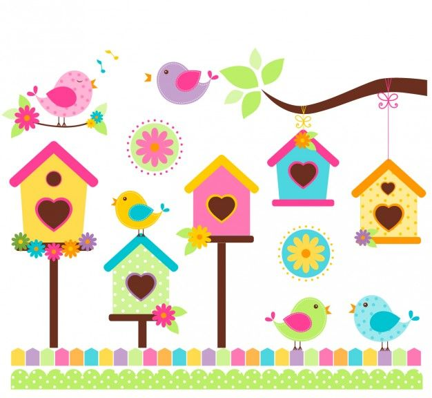 Cantando pássaros no estilo colorido Vetor grátis