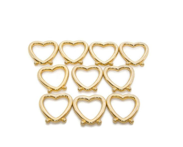 Vintage Heart Shaped Napkin Rings Set of 10 Gold Tone Hearts Napkin Holders Valentine's Day Wedding Day Romantic Meal