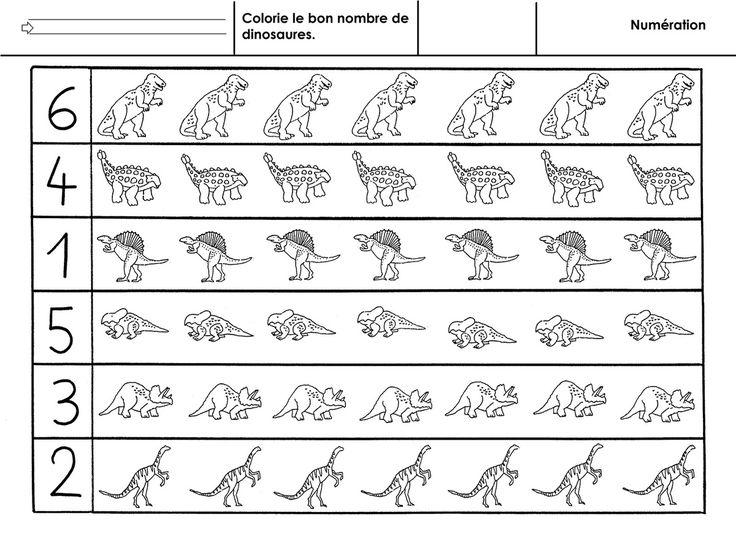 Colorier le bon nombre de dinosaures à chaque ligne. - colorie dinosaures.docx - colorie dinosaures.pdf