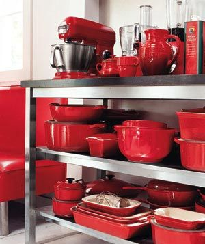 Looks familiar...: Hot Kitchens, Red Stuff, Kitchens Stuff, Red Dishes, Kitchens Appliances, Red Kitchens, Things Red, Red Cookware, Red Hot