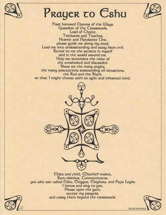 """The symbolism and prayer depicted in this parchment poster offer a potent prayer to Eshu, Orisha and loa, to offer assistance, guidance, and aid in all things. 8 12"""" x 11""""."""
