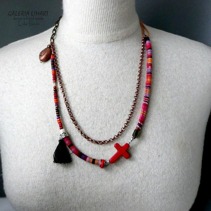 Boho style necklace. Beaded necklace, Tassel Frienship necklace. Beaded Wrap. Boho Jewelry, Charm necklace, Hand made with cross by keram on Etsy