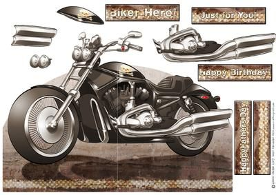 Harley Davidson Shaped Card  on Craftsuprint designed by Gordon Fraser - Cool motorbike design featuring a wicked Harley. Cut out the main design, score down the central guide line, add any decoupage (don't forget to score any bits that pass over the central fold!) add sentiments and away you go!  - Now available for download!