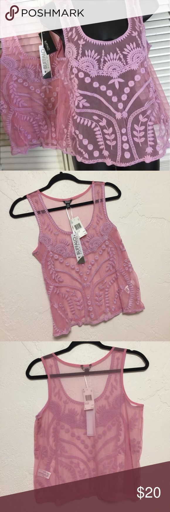 Buffalo by David Bitton Sheer Embroidered Top Sz S Buffalo by David Bitton Sheer embroidered top , Sz S, Lilac Pink, polyester Sheer with embroidered design, NWT Buffalo David Bitton Tops Tank Tops