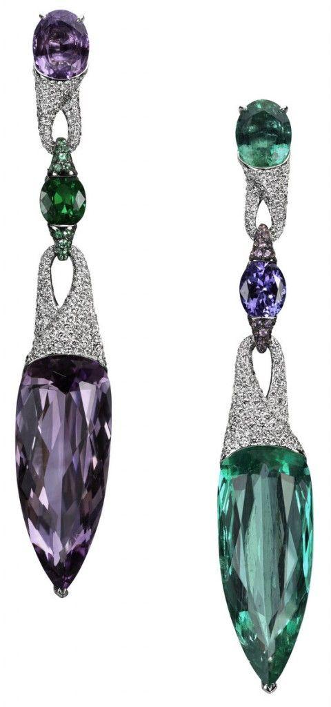 Emerald and amethyst earrings, bogh art