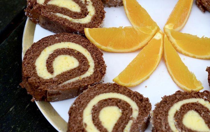 Choklad och apelsin rulltårta