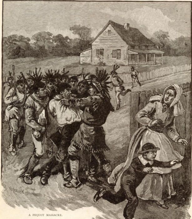 The enraged Pequots Indians commenced hostilities which were promptly resented by the Puritan Governor, Endicott, who led his men into the Indian country, punishing the assailants severely.  (original 13 colonies Issues)