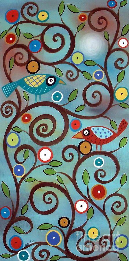 Branch Birds Painting  - Branch Birds Fine Art Print